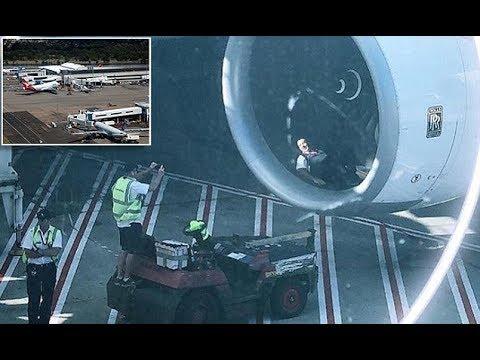 Australian airport worker snapped inside plane turbine