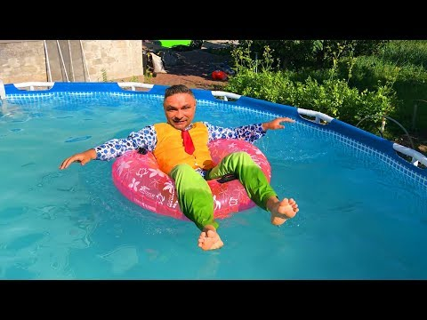 Mr. Joe TELEPORTED In Pool & Swimming On Inflatable Circle W/ Lamborghini Huracan For Children
