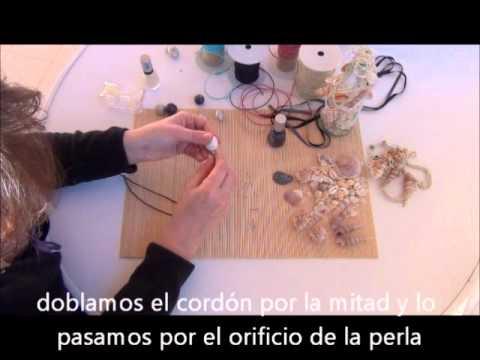 Como hacer un collar con concha de playa y perla montesa - Manualidades con piedras de playa ...