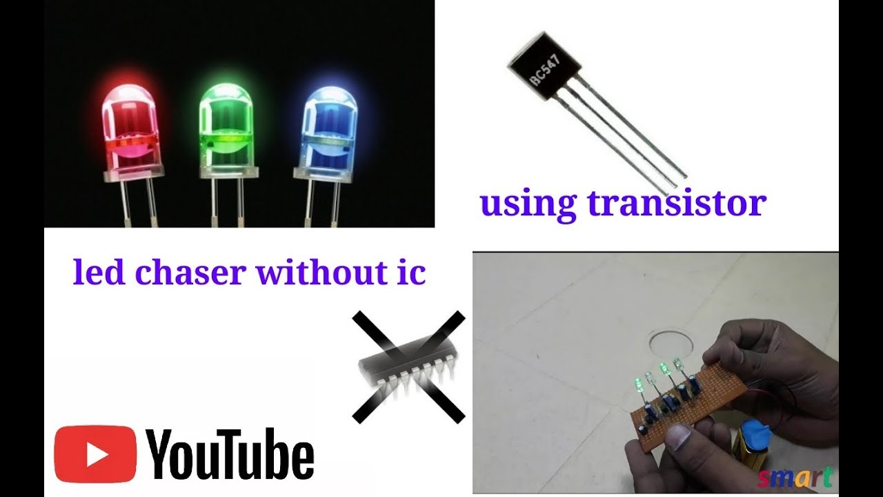 How To Make Easy Led Chaser Without Ic Using 547 Transistor Youtube Flasher 2 Transistors