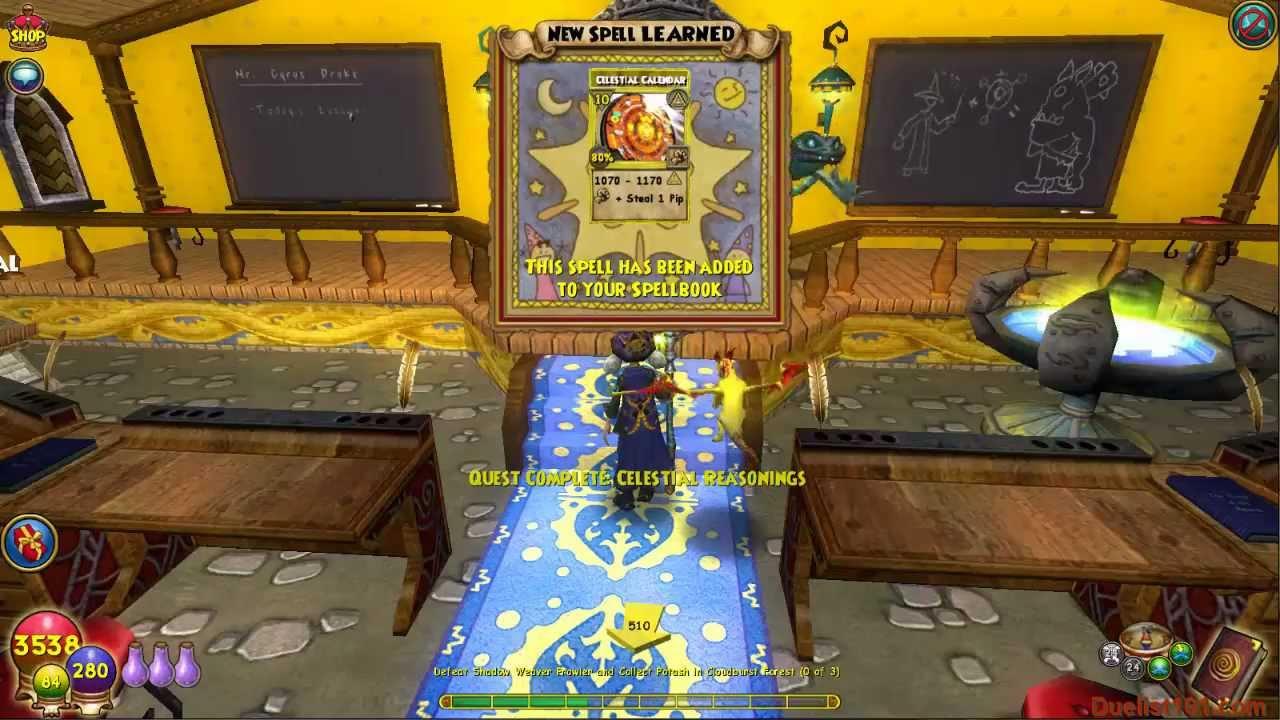 wizard101 celestial calendar spell quest video myth school