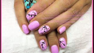 Nail Art - Monocolore lilla con fiori d'arancio Thumbnail