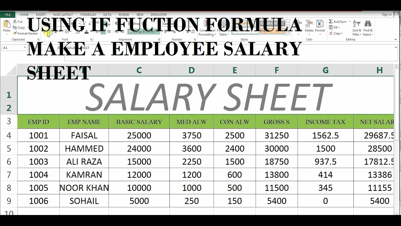 How To Make Salary Sheet In MS Excel # 43 - YouTube