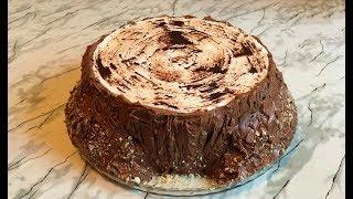 """Торт """"Трухлявый Пень"""" / Сметанный Торт / Cake Rotten Tree Stump / Пошаговый Рецепт"""