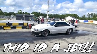 street outlaws chuck makes a insanely fast pass at north myrtle beach drag strip in the death trap