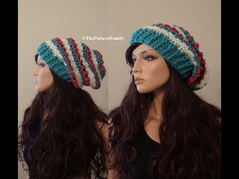 How to Crochet a Tulip Slouchy Beanie Hat Pattern #139│by ThePatternfamily