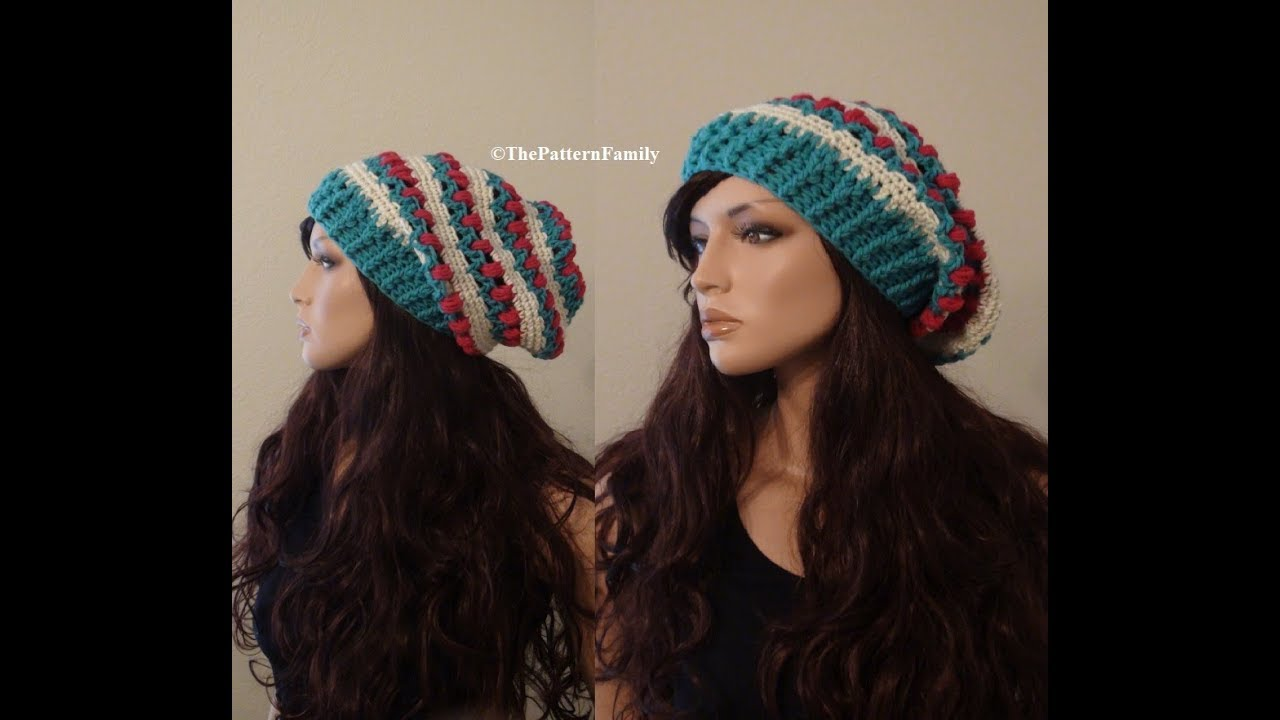 How to Crochet a Tulip Slouchy Beanie Hat Pattern  527│by ThePatternFamily 3c6df6046ad