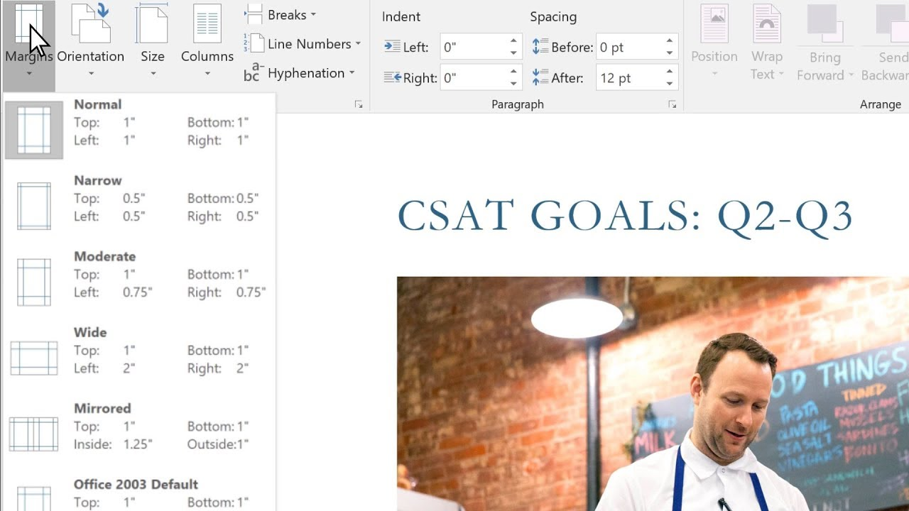 How to change the margins in your Microsoft Word document