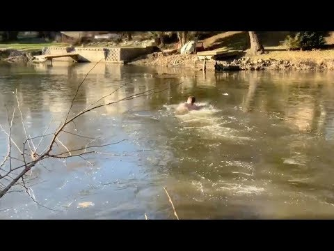 Bob Hauer - Guy Dives Into a Partially Frozen Lake to Save a Stranded Cat
