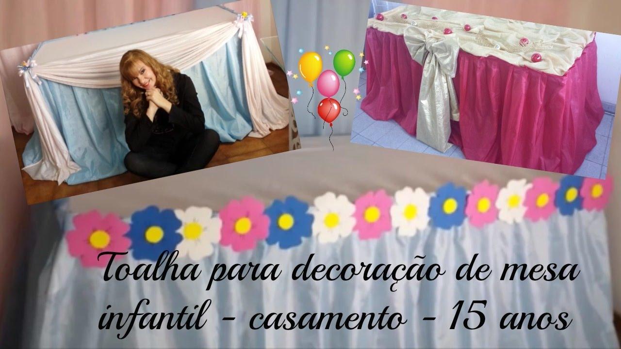 Faça voc u00ea mesmo, toalha em tecido para decoraç u00e3o de festa YouTube -> Decoração De Aniversario Infantil Com Tnt
