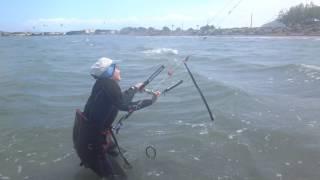 kitesurfen mallorca in April www edmkpollensa Marta gaining control Viron Flysurfer