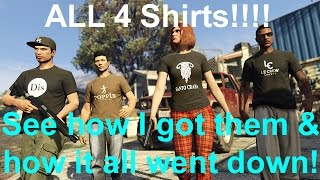 "GTA V Online - How I got ALL 4 of the Weekend Event ""Knockoff"" Male Special T-Shirts!"