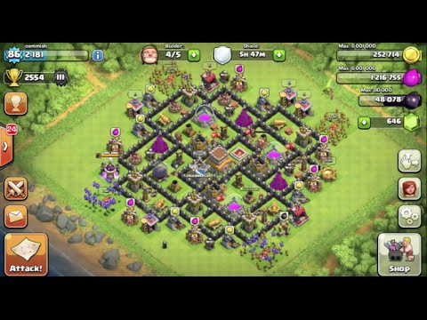 Clash of clans best town hall 8 th8 trophy base 4 mortars