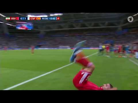 IRAN ACROBATIC FAIL THROW IN   Spain vs  Iran #WORLDCUP2018 (HD)