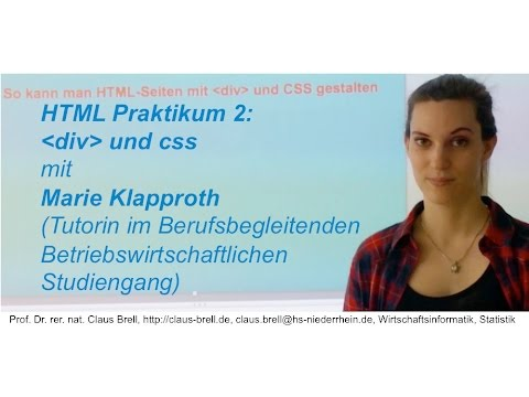 HTML Praktikum Teil 2 Div Und Css Klapproth