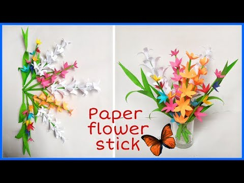 DIY- Easy & Beautiful Paper Flower Stick | How to Make Paper Flower Stick for Room Decoration