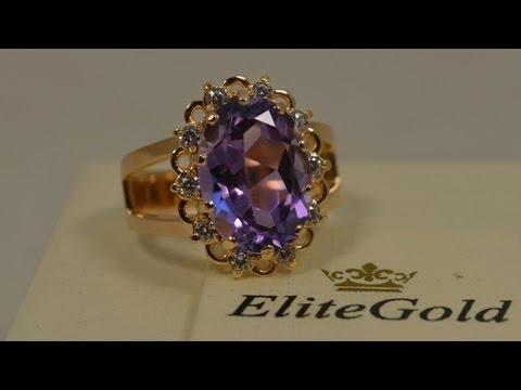 Кольцо (2497), ручная работа, золото 585, аметист от EliteGold