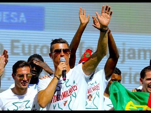 Cristiano Ronaldo and Pepe CELEBRATE Euro 2016 in LISBON | VICTORY SPEECH