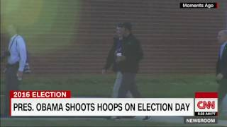 President Obama heads to the gym to play basketball with some friends on