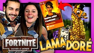 OPENING OF THE GOLD LLAMA! RAMIREZ LEGEND! FORTNITE SAUVER THE WORLD DUO EN