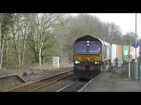 Freight trains at Westerfield station including 66779 Evening Star 16/02/17