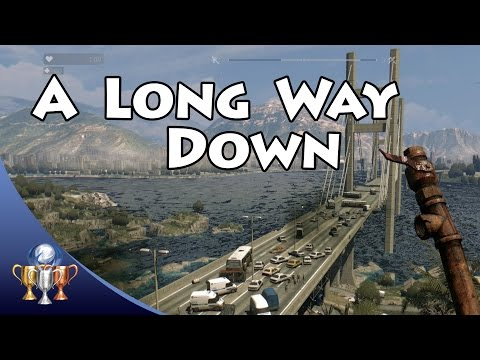 Dying Light  - A Long Way Down Trophy - Jump to Water off Infamy Bridge at Night