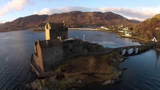 Eilean Donan Castle from the air via drone