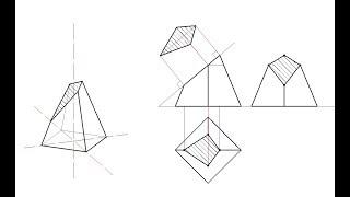Сечение пирамиды. Изометрия. Натуральная величина сечения.