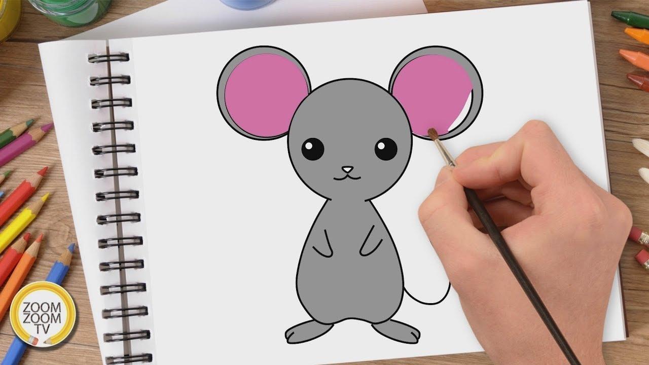 Hướng dẫn cách vẽ CON CHUỘT – Tô màu Con Chuột – How to draw a Mouse