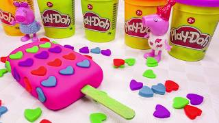 Learn Colors Play Doh Popsicles Ice Cream Octonauts Peppa Pig Little Bus Dinosaur Surprise Toys Kids