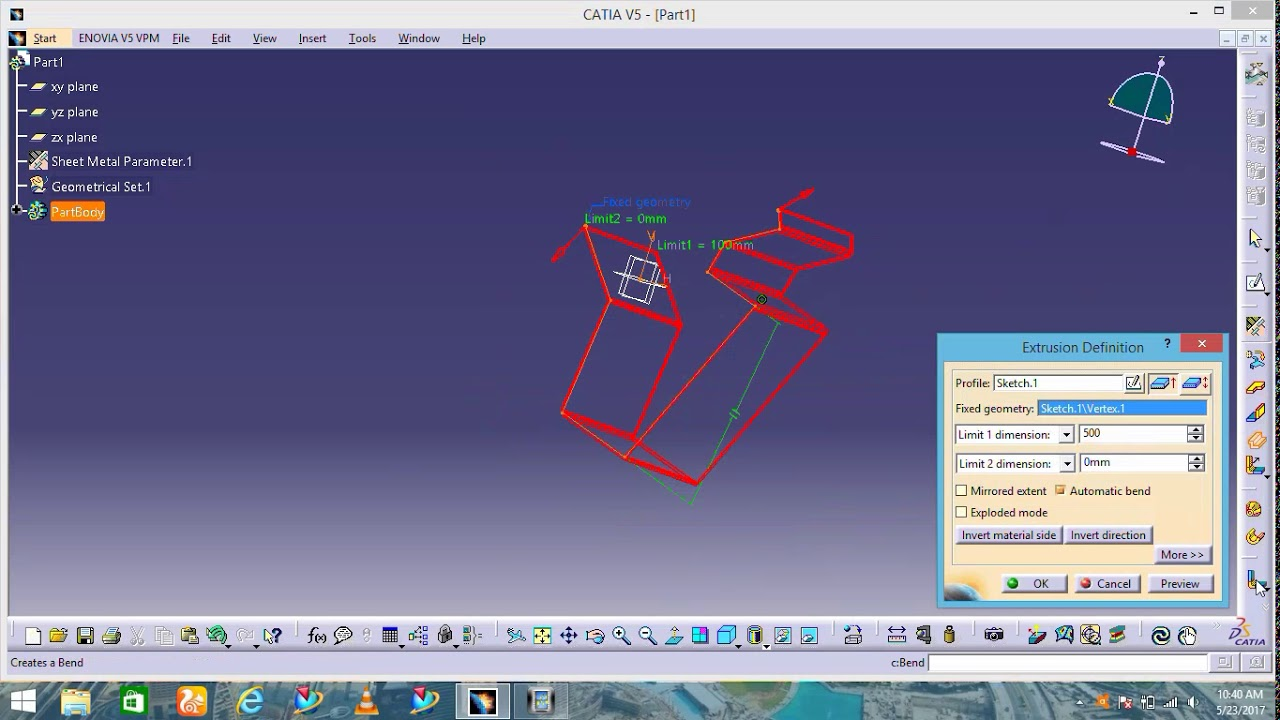 100 Pictures of Catia Extrude