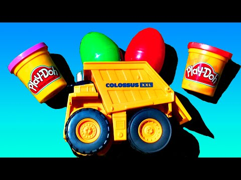 Surprise Eggs Truck My Little Pony HELLO KITTY Lion King Toys Play-Doh Cars 2 Earth Mover FluffyJet