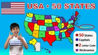 Learn 50 US States With Capitals | USA 50 States | Nicknames | 2 Letter Codes | Abbreviations