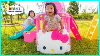 Emma and Kate with Hello Kitty Bus Slide and School Bus!!!