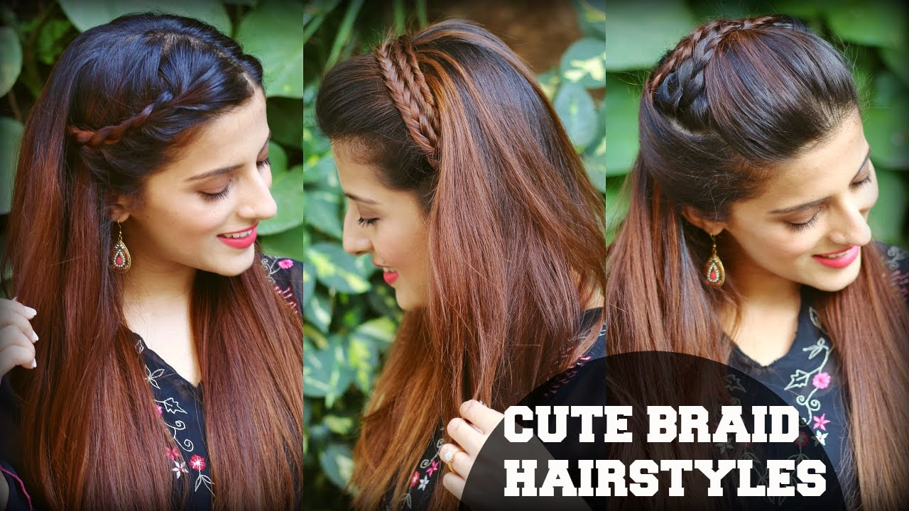 3 cute & easy everyday headband braid hairstyles for school, college, work  / indian hairstyles