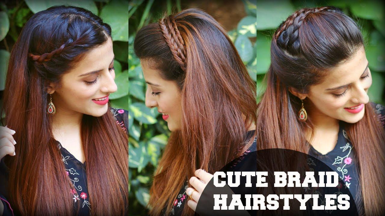 3 cute & easy everyday headband braid hairstyles for school, college, work  / indian hairstyles
