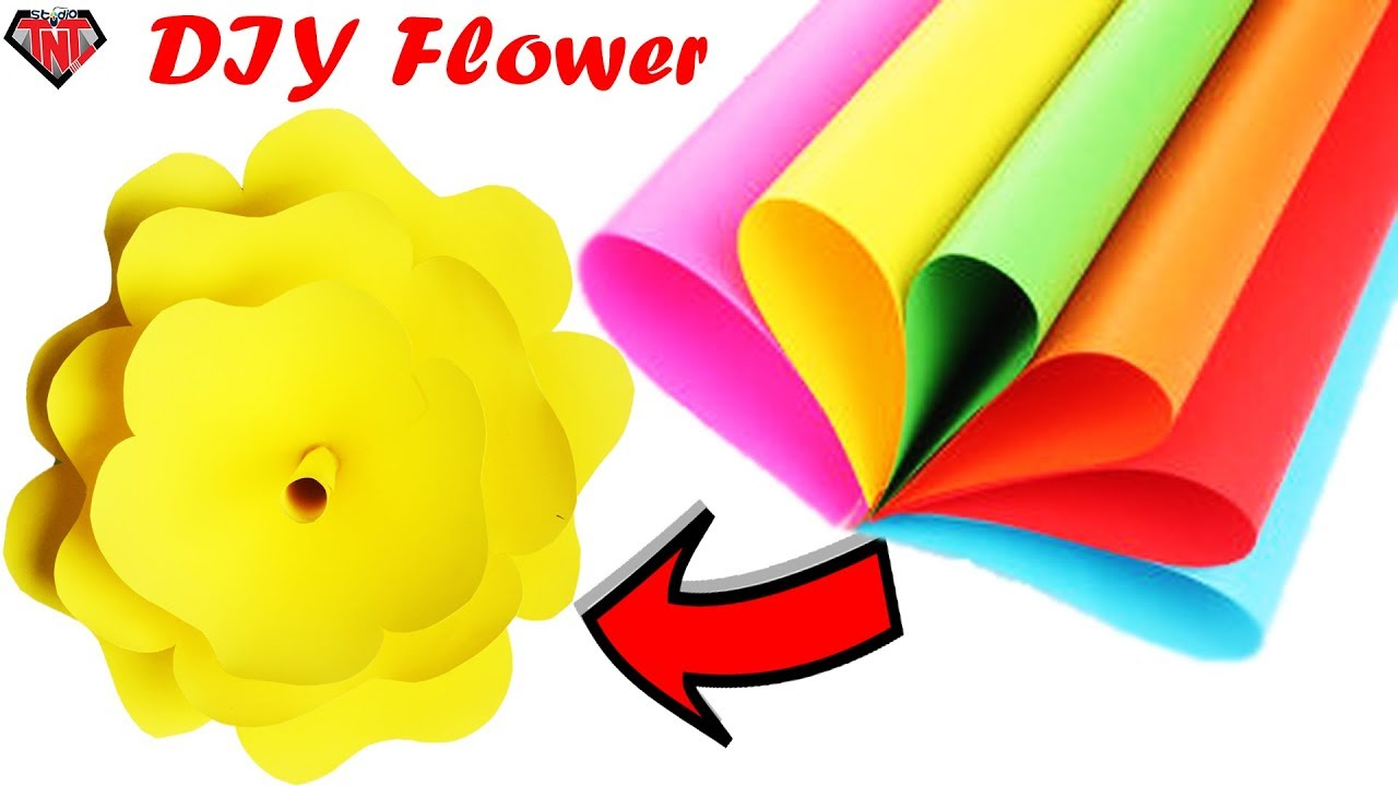 DIY Wall Hanging Craft || Easy To Make Giant Paper Flower || Big ...