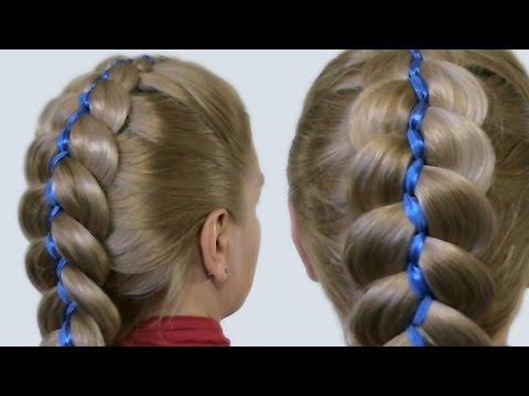 Как Плести Косы с Лентами Видео| 5 Strand Ribbon French Braid Headband On Yourself Hairstyle