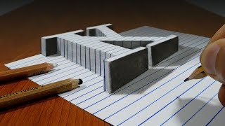 Draw a Letter K on Line Paper   3D Trick Art