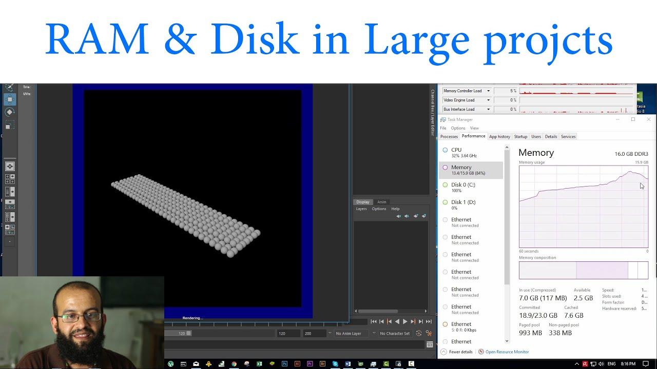 في المشاريع الكبيرة الرام والديسك يؤثران على سرعة الريندر. كيف؟ Ram & Disk effect in large proje