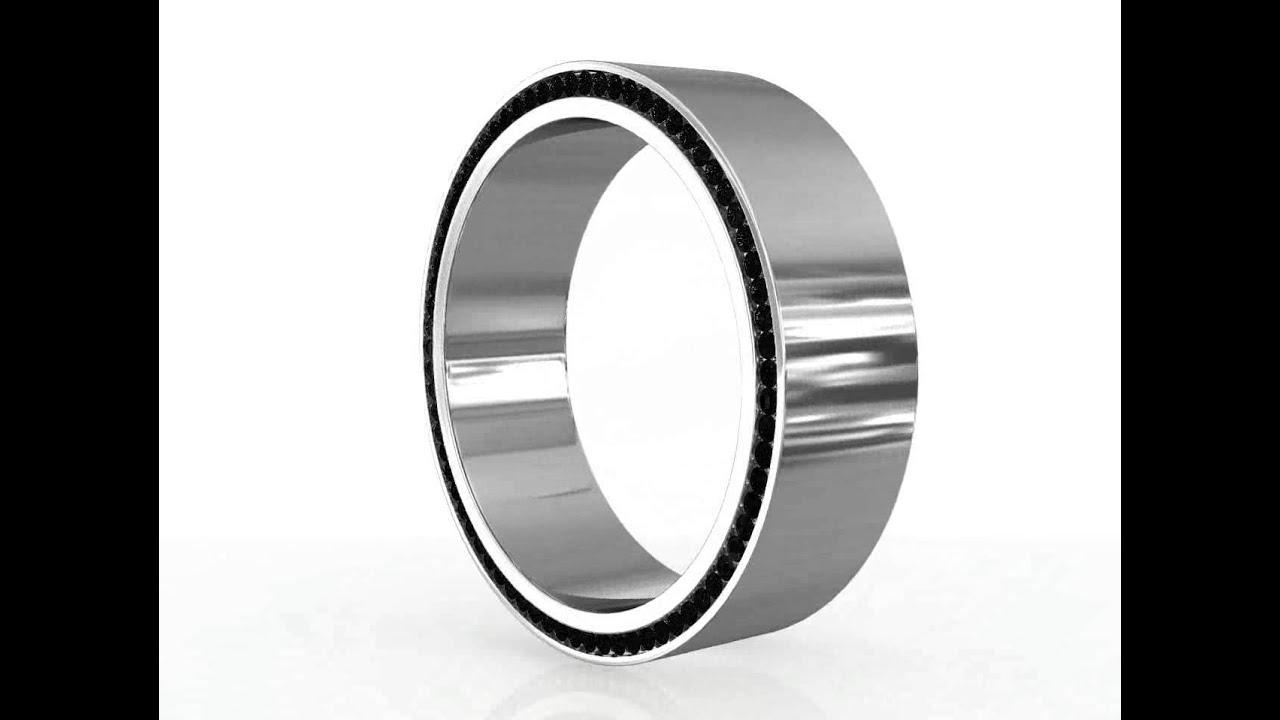 Men S Platinum Black Diamond Profile Eternity Wedding Band