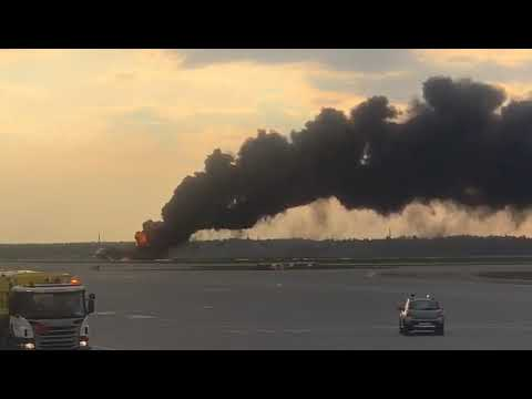 Sukhoi Superjet 100 of Aeroflot on fire at Sheremetyevo airport.