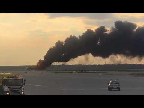 Sukhoi Superjet 100 of Aeroflot on fire at Sheremetyevo airport.