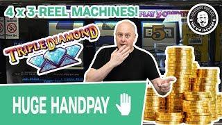 😱 $1,500 WIN 😱 4 Different 3-Reel Machines = EXCITEMENT