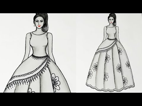 Dress Drawing How To Draw A Dress Design Youtube