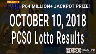 PCSO Lotto Results Today October 10, 2018 (6/55, 6/45, 4D, Swertres, STL & EZ2)