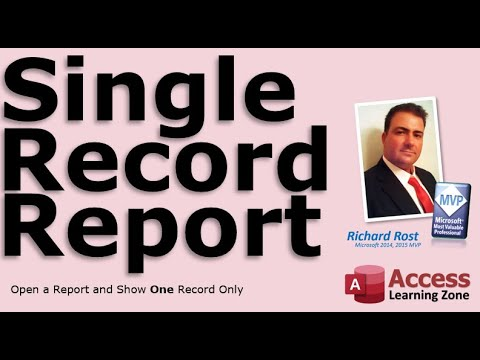 Display A Single Record In A Microsoft Access Report Youtube