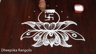 simple and easy kalasam muggulu with 6x3 dots l Friday kolam design l Lakshmi pooja rangolis