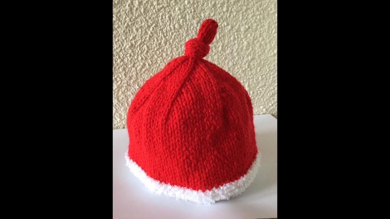 Tuto tricot facile bonnet de Noël pour bébé - YouTube