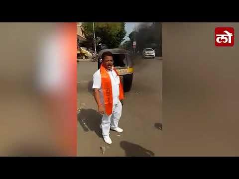 e40705e967abc Auto Rickshaw set on fire in Solapur during aggetation by Shiva ...